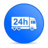 Delivery 24h blue circle web glossy icon — Stock Photo
