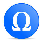 Omega blue circle web glossy icon — Stock Photo