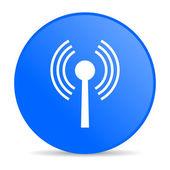 Icône de papier glacé web wifi de cercle bleu — Photo