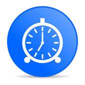 Alarm clock blue circle web glossy icon — Stock Photo