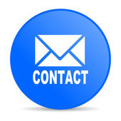Επικοινωνήστε με γυαλιστερό εικονίδιο web μπλ — Stockfoto