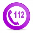 Royalty-Free Stock Photo: Emergency call violet circle web glossy icon