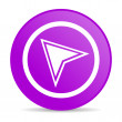 Navigation violet circle web glossy icon — Stock Photo