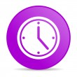 Clock violet circle web glossy icon — Stock Photo