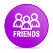 Friends violet circle web glossy icon — Stock Photo
