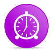 Alarm clock violet circle web glossy icon — Stock Photo