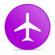 Airplane violet circle web glossy icon — Stock Photo