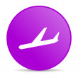 Royalty-Free Stock Photo: Airplane violet circle web glossy icon