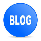 Blog blue circle web glossy icon — Stock Photo