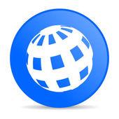 Ziemia niebieskie koło www błyszczący ikona — Zdjęcie stockowe