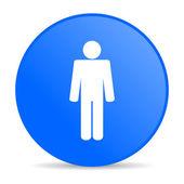 человек синий круг веб глянцевой иконка — Стоковое фото
