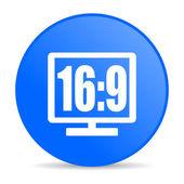 16 icono brillo de pantalla 9 círculo azul web — Foto de Stock
