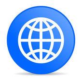 Earth blue circle web glossy icon — Stock Photo