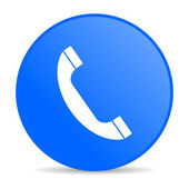 Blauwe cirkel web glanzende telefoonpictogram — Stockfoto