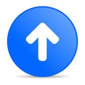 синий круг веб глянцевой иконка стрелка вверх — Стоковое фото