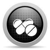 таблетки черный круг веб глянцевой значок — Стоковое фото