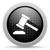 Law black circle web glossy icon — Stock Photo