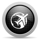 Travel black circle web glossy icon — Stock Photo