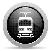 Train black circle web glossy icon — Stock Photo