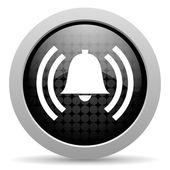 Alarm black circle web glossy icon — Stock Photo