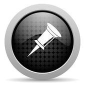 Pin black circle web glossy icon — Stock Photo