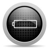 Battery black circle web glossy icon — Stock Photo