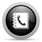 Phonebook black circle web glossy icon — Stock Photo