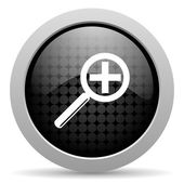 Magnification black circle web glossy icon — Stock Photo