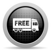 Free delivery black circle web glossy icon — Stock Photo
