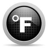 Fahrenheit black circle web glossy icon — Stock Photo