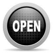 Open black circle web glossy icon — Stock Photo