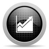 Histogram black circle web glossy icon — Stock Photo