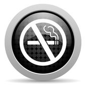 No smoking black circle web glossy icon — Stock Photo