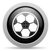 Soccer black circle web glossy icon — Stock Photo
