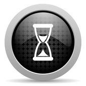 Time black circle web glossy icon — Stock Photo