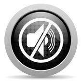 Mute black circle web glossy icon — Stock Photo