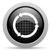 Actualizar icono brillante círculo negro web — Foto de Stock