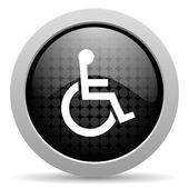 Accessibility black circle web glossy icon — Stock Photo