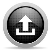 Upload black circle web glossy icon — Stock Photo