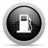 Fuel black circle web glossy icon — Stock Photo