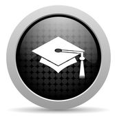 Graduation black circle web glossy icon — Stock Photo