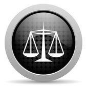 Justice black circle web glossy icon — Stock Photo