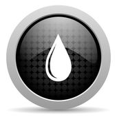 Water drop black circle web glossy icon — Stock Photo