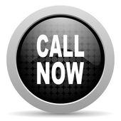 Call now black circle web glossy icon — Stock Photo
