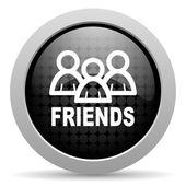 Friends black circle web glossy icon — Stock Photo