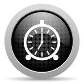 Budzik czarne koło www błyszczący ikona — Zdjęcie stockowe