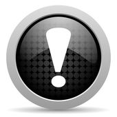 Exclamation sign black circle web glossy icon — Stock Photo