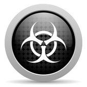 Virus black circle web glossy icon — Stock Photo
