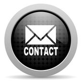 Contact black circle web glossy icon — Stock Photo