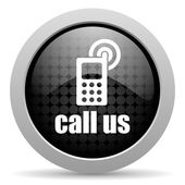 Call us black circle web glossy icon — Stock Photo